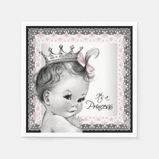 Vintage Princess Baby Shower Disposable Napkin