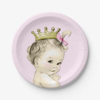 Vintage Princess Baby Shower Paper Plate