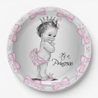 Vintage Princess Baby Shower Paper Plates 9 Inch Paper Plate