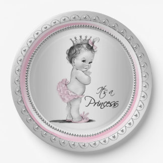 Vintage Princess Baby Shower Pink Silver 9 Inch Paper Plate