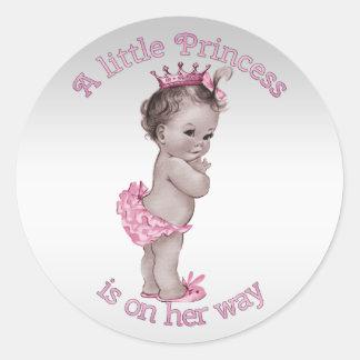 Vintage Princess Baby Shower Round Sticker