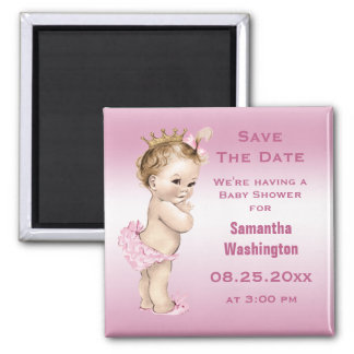 Vintage Princess Baby Shower Save the Date Pink Square Magnet