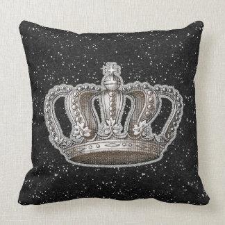 Vintage Princess Crown Black Faux Glitter Sparkle Throw Pillow