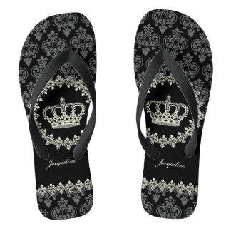 Vintage Princess Damask Crown Thongs