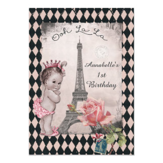 Vintage Princess Eiffel Tower Baby 1st Birthday 13 Cm X 18 Cm Invitation Card