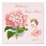 Vintage Princess in Tutu Hydrangea Baby Shower 13 Cm X 13 Cm Square Invitation Card