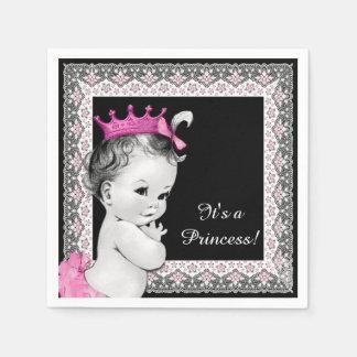 Vintage Princess Pink and Black Baby Shower Paper Napkins