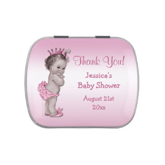 Vintage Princess Pink Baby Shower Thank You Favor Candy Tins