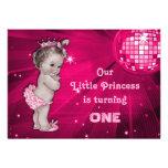 Vintage Princess Pink Disco Ball 1st Birthday Personalised Invitation