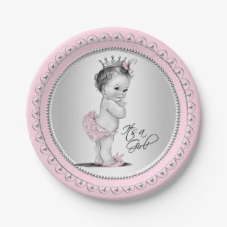 Vintage Princess Pink Silver Girl Baby Shower 7 Inch Paper Plate
