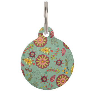 Vintage Print Dog and Cat Tags