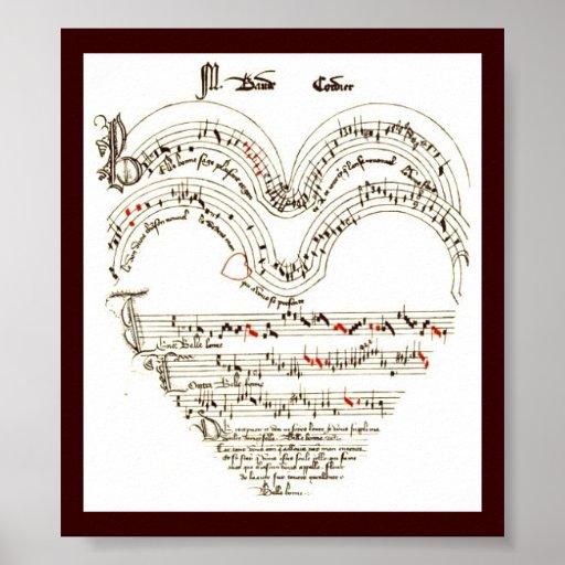 Vintage Print , Medievil music in heart shape