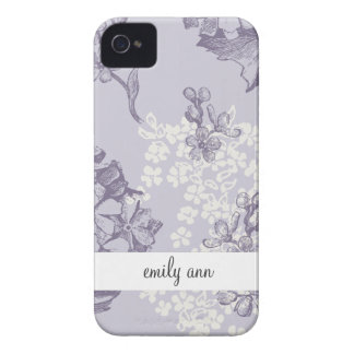 Vintage Printed Lilacs in Purple and White iPhone 4 Cover
