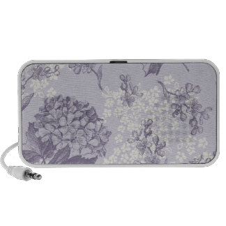 Vintage Printed Lilacs in Purple and White PC Speakers