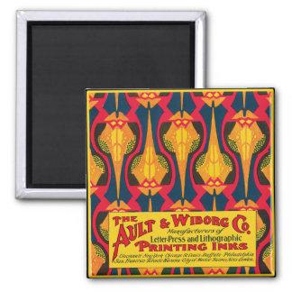 Vintage Printing Ink Advertisement Square Magnet