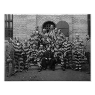 Vintage Prisoners In Striped Uniforms - 1889 Poster