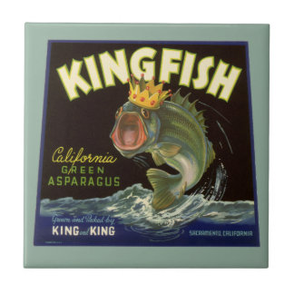 Vintage Product Can Label Art, Kingfish Asparagus Small Square Tile
