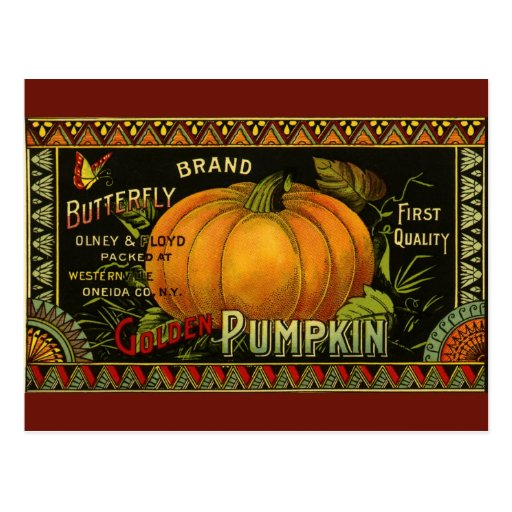 Vintage Product Label Art; Butterfly Brand Pumpkin Post Cards