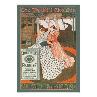 Vintage Product Label Art, Pearline Cleanser 13 Cm X 18 Cm Invitation Card
