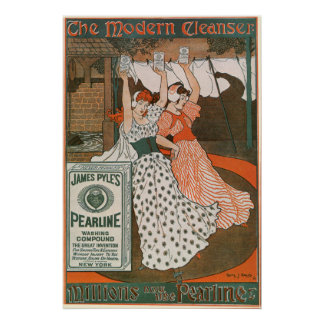 Vintage Product Label Art, Pearline Cleanser Poster
