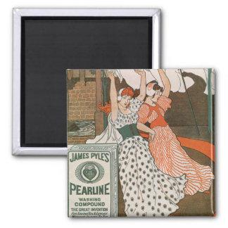 Vintage Product Label Art, Pearline Cleanser Square Magnet
