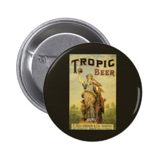 Vintage Product Label Art, Tropic Beer 6 Cm Round Badge