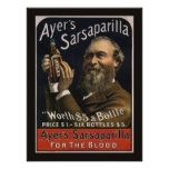 Vintage Product Label, Ayer's Sarsaparilla Drink Poster