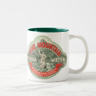 Vintage Product Label, Pine Mountain Mineral Water Two-Tone Mug