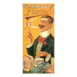 Vintage Product Label; Russian Tobacco Cigarettes Rack Card Design