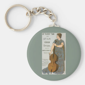 Vintage Product Label, Star Cough Drops Key Ring