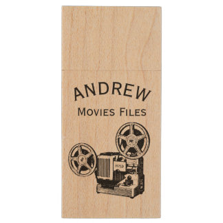 Vintage projector personalized Movies Files USB Wood USB 2.0 Flash Drive