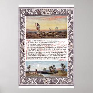 Vintage Psalm 23 Bible Verse Art Poster