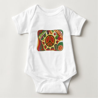 Vintage Psychedelic Flaming Peace Baby Bodysuit