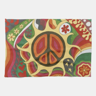 Vintage Psychedelic Flaming Peace Tea Towel