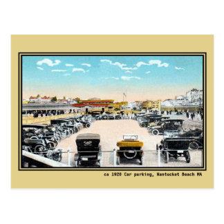 Vintage public car parking Nantucket beach MA Postcard