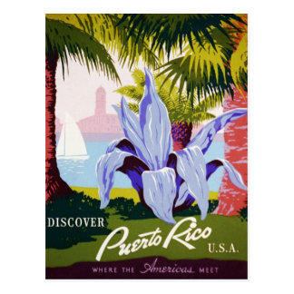 Vintage Puerto Rico Travel - Tropical Art Deco Postcard