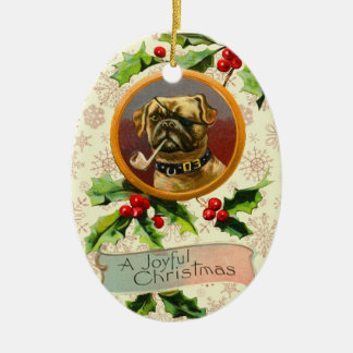 Vintage Pug Christmas Ornament
