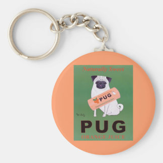 Vintage - Pug Orange Juice Poster Basic Round Button Key Ring