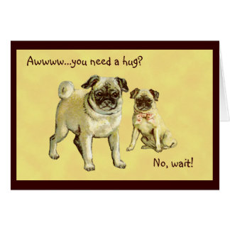 Vintage Pugs Greeting, Get Well, Sympathy Card