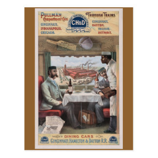 Vintage Pullman train cars Postcard
