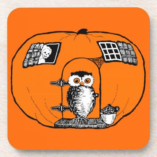 Vintage Pumpkin House Owl Drink Coaster