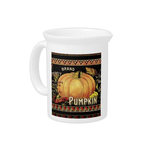 Vintage Pumpkin Label Art Butterfly Brand Drink Pitcher