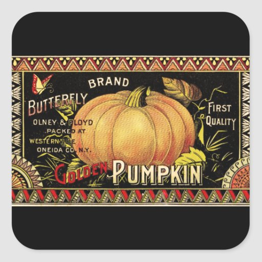 Vintage Pumpkin Label Art Butterfly Brand Square Stickers