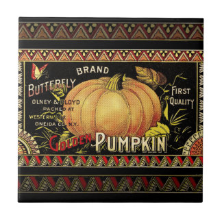 Vintage Pumpkin Label Art Butterfly Brand Tile