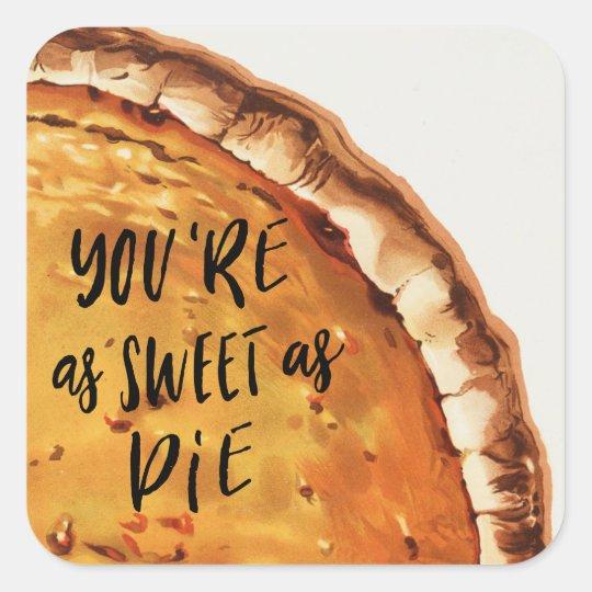 Vintage Pumpkin Pie Square Sticker