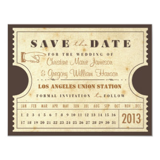 Vintage Punch Card Ticket Save the Date 11 Cm X 14 Cm Invitation Card