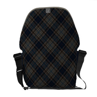 Vintage Punk Plaid Blue Gray Tan Messenger Bag