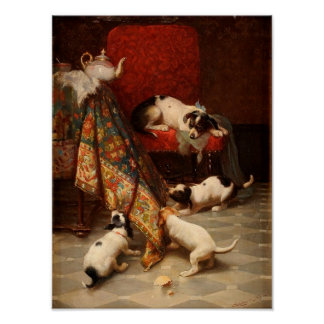 Vintage Puppies at Play Poster