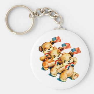 Vintage Puppies with Flags Keychain