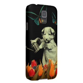 Vintage Puppy Flowers Butterfly Galaxy S5 Covers